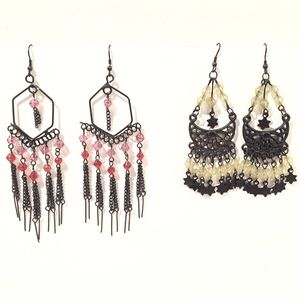 Set of Two Pair of Boho Beaded Wire Earrings Black